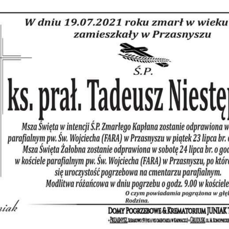 Zmarł ks. prałat mgr Tadeusz Niestępski